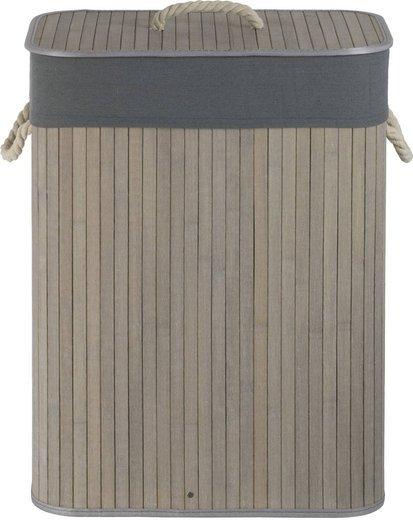Korb aus Bambus grau J702 + Stoffbezug